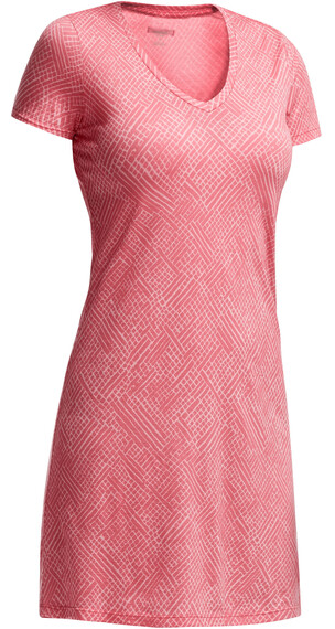 Icebreaker W's Tech Lite SS V Dress Mosaic Grapefruit/Shell
